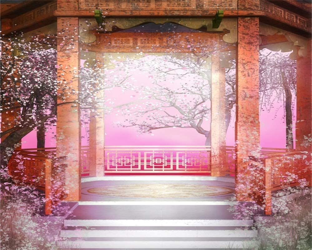 AOFOTO 10x8ft Chinese Style Backdrop for Photography Vintage Pavilion Spring Flower Trees Garden Background Wedding Archway Photo Studio Props Lovers Adult Girl Woman Lady Artistic Portrait Wallpaper