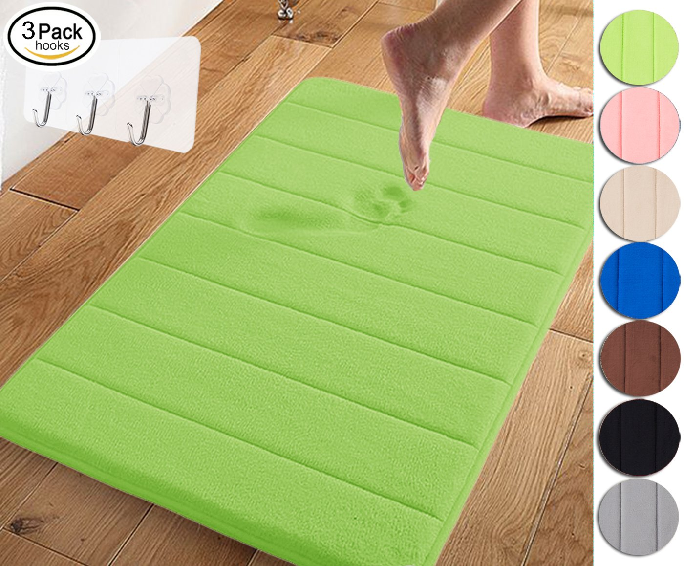 Yimobra Memory Foam Bath Mat Large Size 31.5 by 19.8 Inch,Maximum Absorbent,Soft,Comfortable,Non-Slip,Easier to Dry for Bathroom,Green (Presented Wall Hooks 3 Pack) by Yimobra