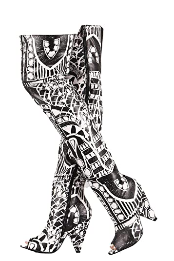 3aa6dd4f598 Weboo Hollywood-01 Over Knee Thigh High Open Toe Cone Heel Grpahic Print  Boots Black