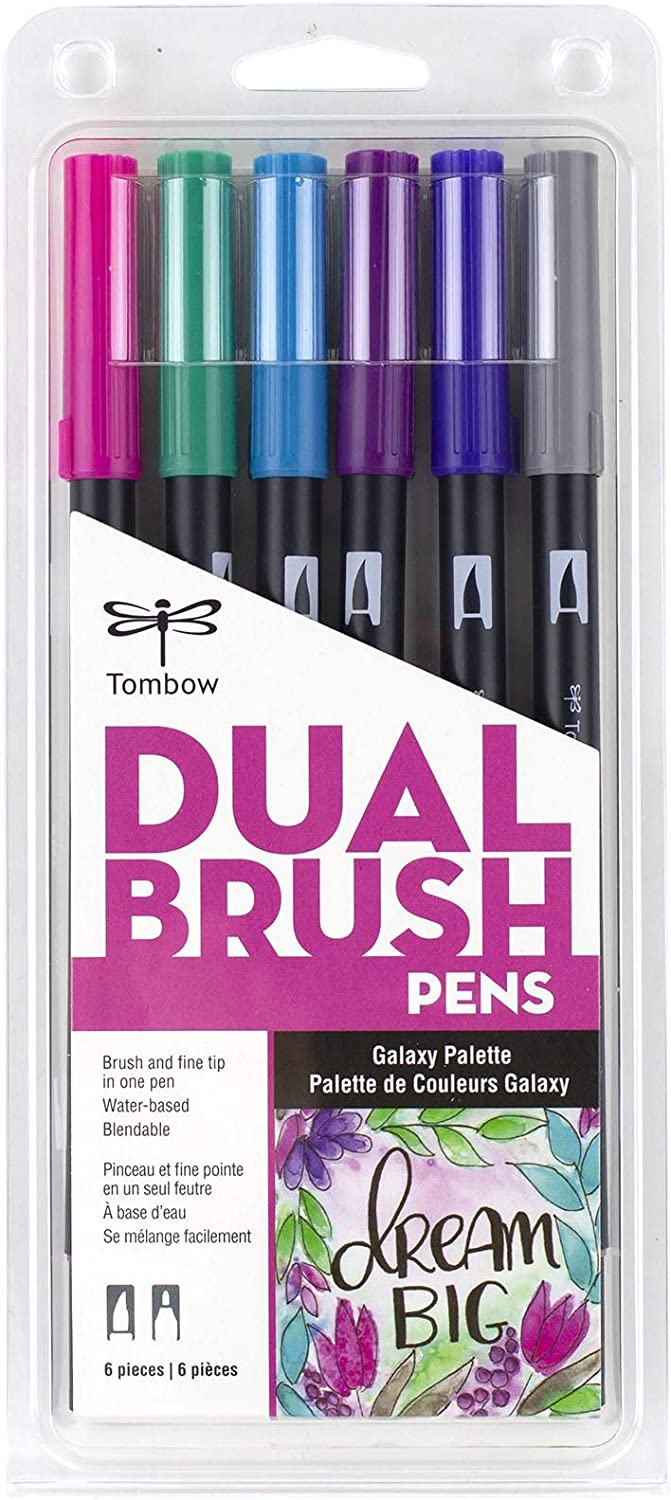 Tombow 56212 Dual Brush Pen Art Markers, Galaxy, 6-Pack. Blendable, Brush and Fine Tip Markers