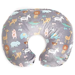 Minky Nursing Pillow Cover ONLY   Jungle Pattern Slipcover   Best for Breastfeeding Moms   Soft Fabric Fits Snug On Infant Nursing Pillows (not Included) for Breast Feeding   Great Baby Shower Gift