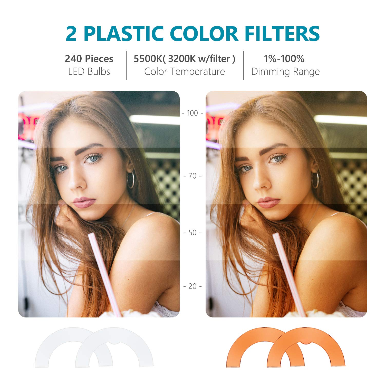 Neewer Ring Light 13-inch RGB Dimmable LED Ring Light with Foldable Table-top Bracket//Phone Holder//Ball Head 8 RGB Colors and 3200K-5600K Colors Desktop Ring Light for Selfie Makeup YouTube Video
