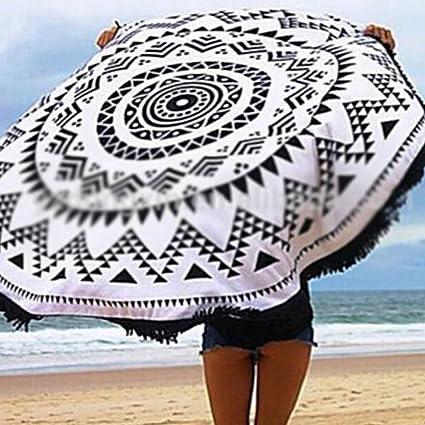 MyC Yi lian Circular Negro y Blanco Rayas Algodón Toalla de playa con flecos redondo toalla