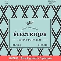 NOUVEAUTÉ Belfort®️ Cordes de première qualité pour guitare électrique (lot de 6 cordes) ★ VAINQUEUR DE TEST 2019* ★ BONUS : Ebook gratuit + 3 plectres