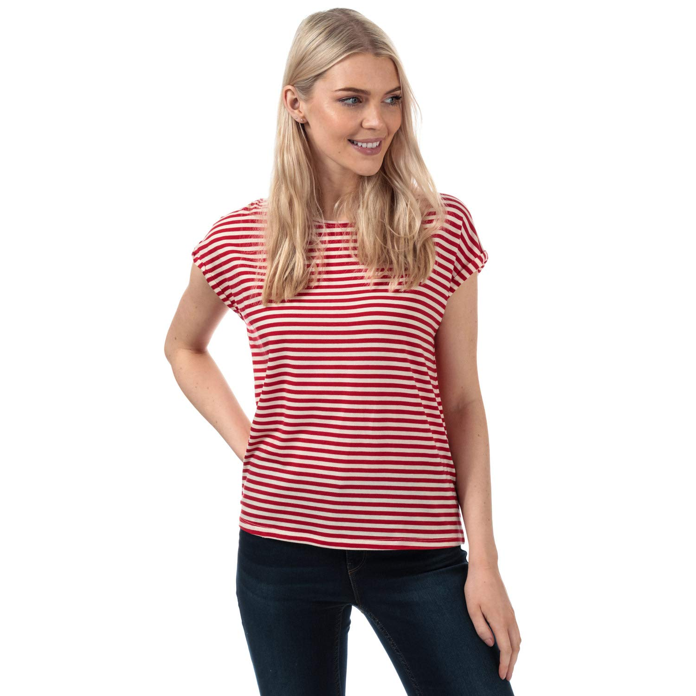 Vero Moda Womens Ava Striped T-Shirt in Chinese Red//Pristine