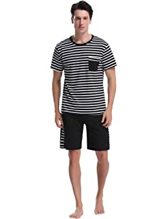 30fec3bafff4 iClosam Men's Pajama Set Summer Short Sleeve Lounge Cotton Classic Striped  Shorts & Shirt Sleepwear(