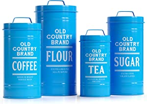 """Barnyard Designs Decorative Nesting Kitchen Canister Jars with Lids, Teal Metal Rustic Vintage Farmhouse Container Decor for Flour Sugar Coffee Tea Storage, Set of 4, Largest is 5.5"""" x 11.25"""""""
