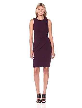 5377de8da6e31a Calvin Klein Women's Sleeveless Dress with Side Ruching, Aubergine, ...