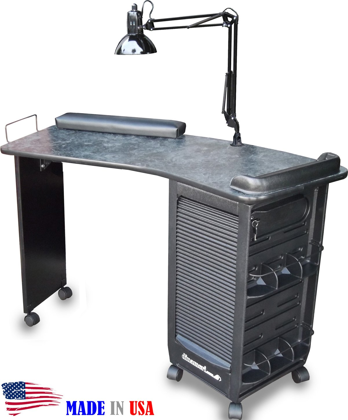 390 Manicure Nail Table Lockable Cabinet w/Black Marble Laminated Top by Dina Meri