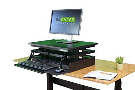 new arrival ad3d0 a528c Electric CHANGEdesk Tall Standing Desk Converter + Ergonomic Keyboard Tray.  Motorized adjustable height sit to stand up desktop computer riser for ...