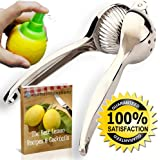 Lemon Squeezer & Lime Juicer – The Ultimate Manual Press For Citrus Fruit – Commercial Grade & Heavy Duty But Easy to Squeeze – Easy To Clean Like Stainless Steel, With No Silicone Handles