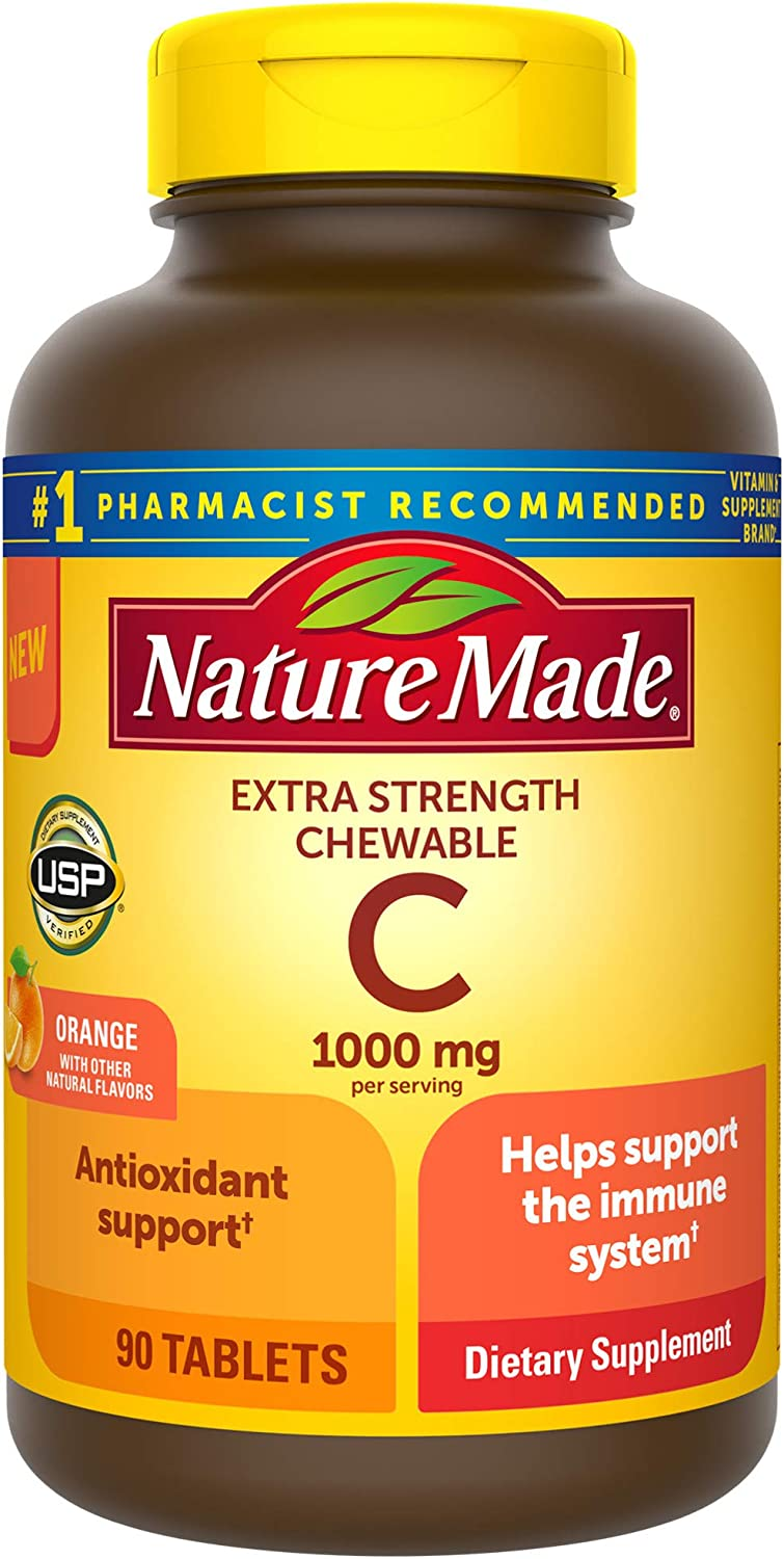 Nature Made Extra Strength Vitamin C Chewable 1000mg, for Immune Support, Antioxidant Support, Orange, 90 Count