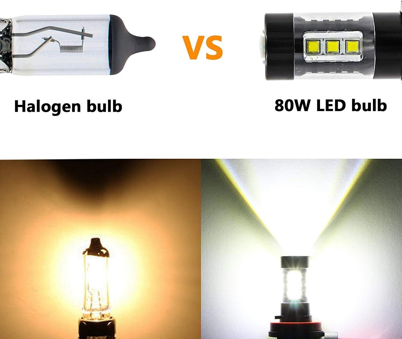H16 LED Fog Light Bulb 80W 780lm DC12-24V OSRAM H16 5202 Fog Lamp Fog Light Kit Led Lighting for Car White Color Replace HID Suparee
