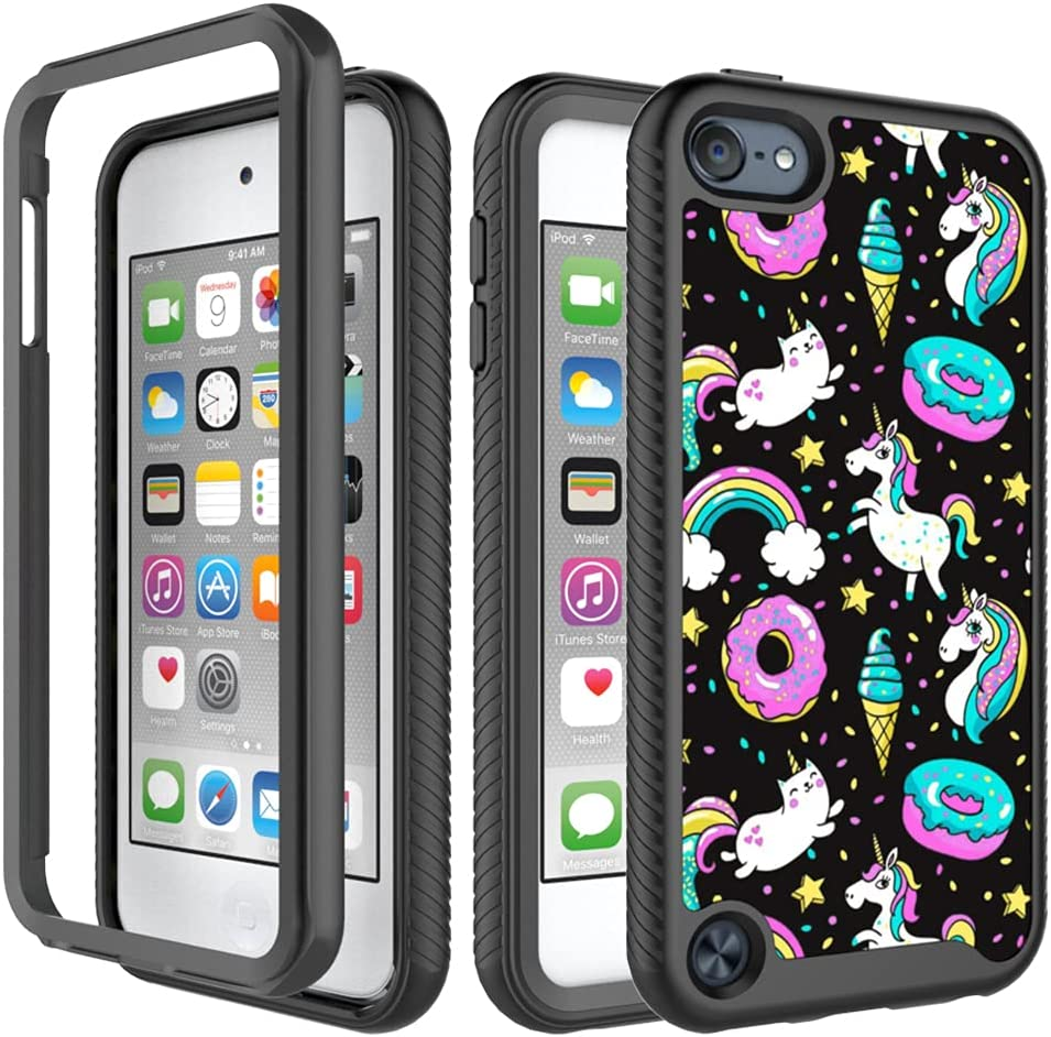 iPod Touch 5/6 Case, iPod Touch 7 Case, Rainbow Unicorn Black Pattern Full Body Dual Layer Heavy Duty Shockproof Shockproof Defender Bumper Back Cover Case for Apple iPod Touch 5/6th iPod Touch 7th