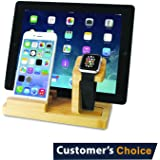 Audiology Connect Wooden Apple Watch Charging Station, Bamboo Charging Station, iPhone Stand, Tablet Stand, iWatch Stand, Apple iWatch Charging Dock with USB cable (included) for all Smartphones