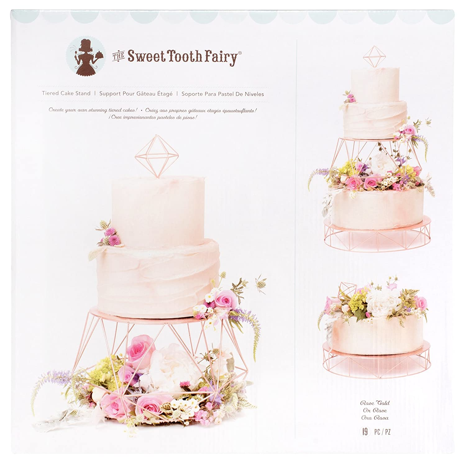 Amazon.com: American Crafts 341986 19 Piece Tiered Rose Gold Cake ...