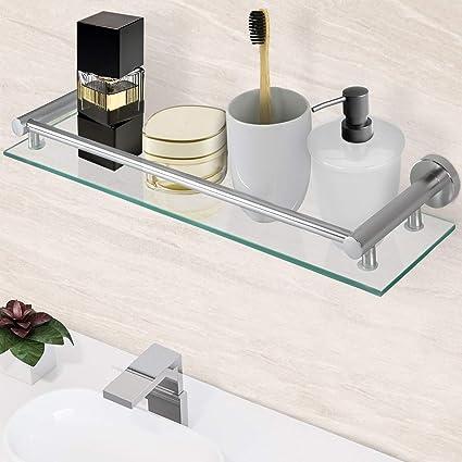Estante de Vidrio para Baño - Templado y Rectangular, 50x14cm, con Soporte de Aluminio para Montaje en Pared - Organización y Almacenaje del Lavabo