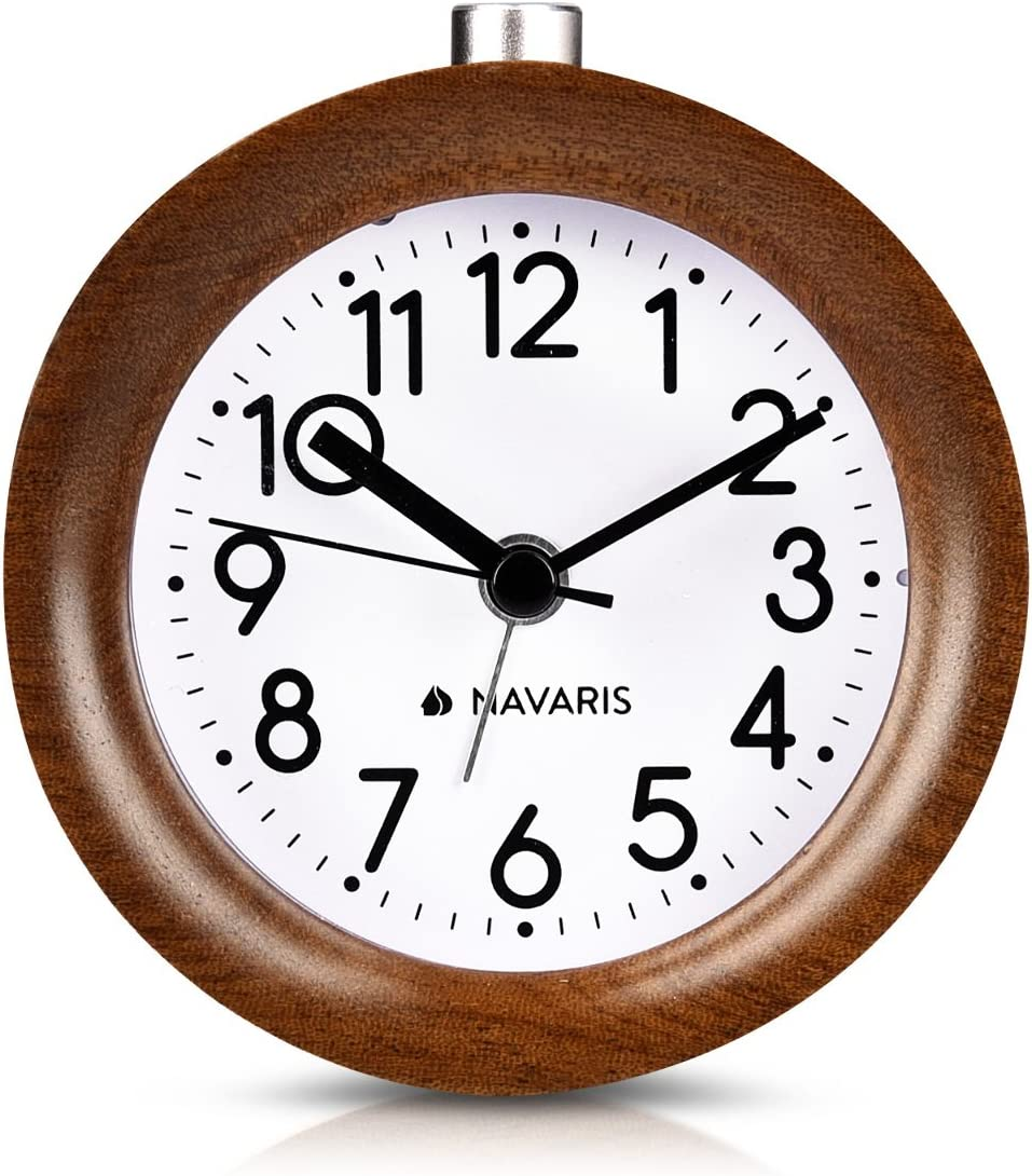 Horloge /à Aiguilles Classique avec Fonctions Heure Alarme Snooze lumi/ère Bois fonc/é Navaris R/éveil analogique en Bois Design Rond