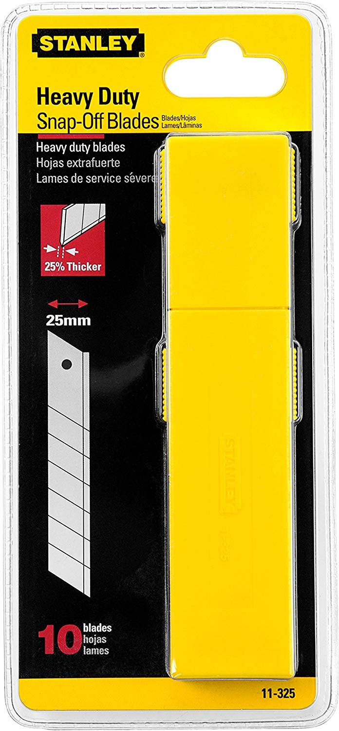 Stanley 11-325T 25mm Heavy Duty Quick-Point Snap-Off Blades with Dispenser, Pack of 10 (4) by Stanley
