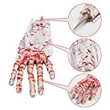 Duladu Halloween Zombie Hands Arms, Skeleton Stakes Lawn Stakes, Bloodied Scary Zombie Fingers Graveyard Prop Decoration Halloween Décor for Outdoor/Yard/Patio, White&Red