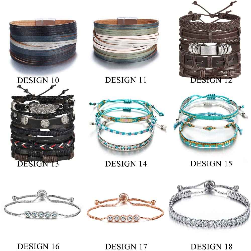 Bracelets /& Bangles New Gold Leather Wrap Bracelets For Women Red Sliver Color Multiple Layers Charm Bracelet /& Bangle Party Fashion Jewelry