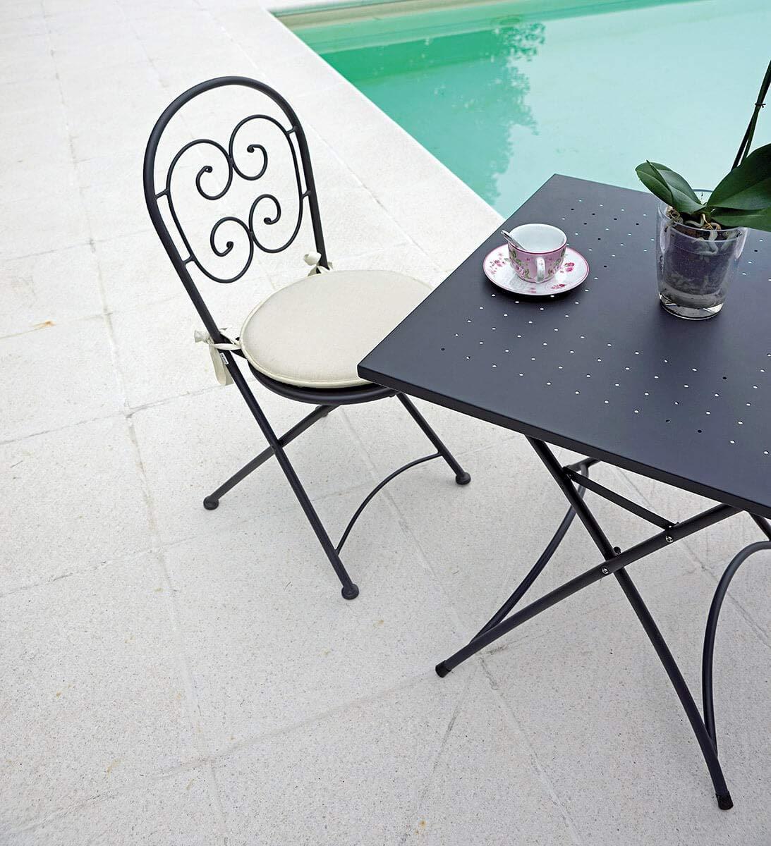 vorghini Tavolino Quadrato Pieghevole da Giardino 70x70 cm in Ferro Orta Antracite