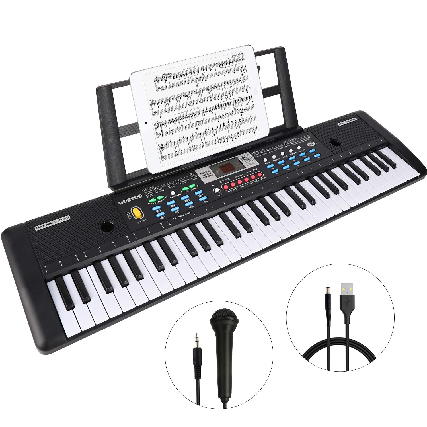 WOSTOO Keyboard Piano, 61 Key Portable Keyboard with Built- In Speaker, Microphone, Piano Stand, Power Supply Teaching Toy Gift for Kids Boy Girl by WOSTOO