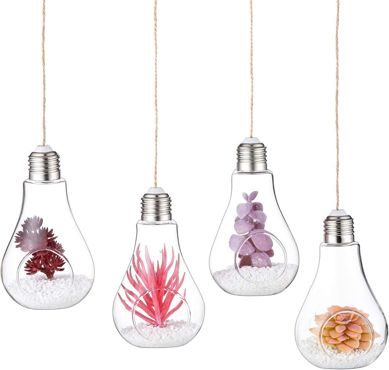 Glasseam Clear Glass Hanging Planter, Creative Glass Bulb Terrarium Container, for Tiny Air Plant Succulent DIY Decor Home Garden Decor (4Pcs)