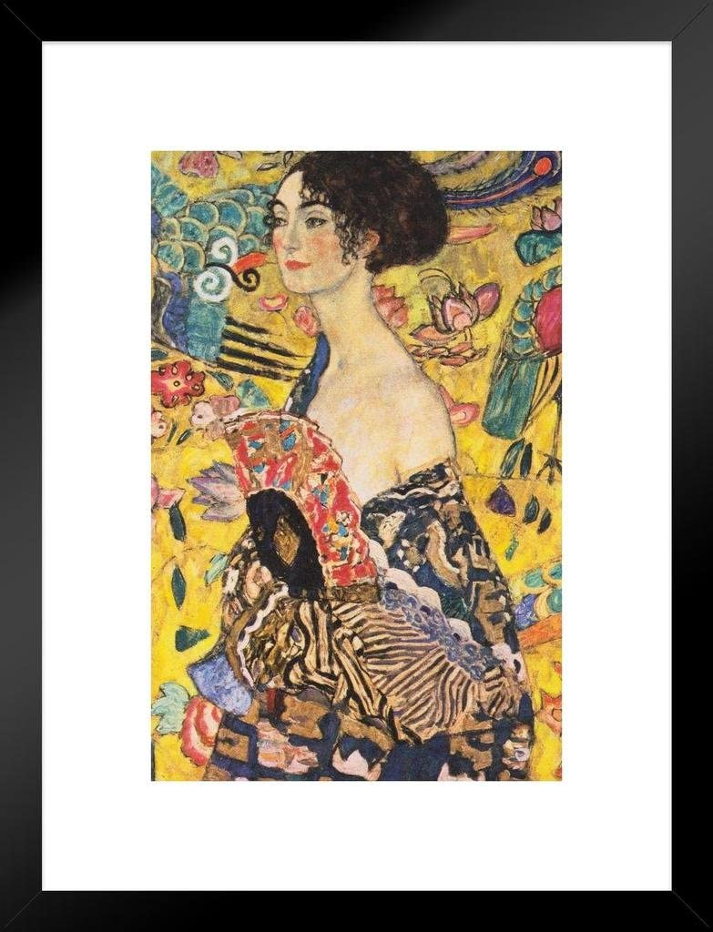 Poster Foundry Gustav Klimt Lady with Fan Asian Influenced Austrian Symbolist Painter Matted Framed Wall Art Print 20x26 inch