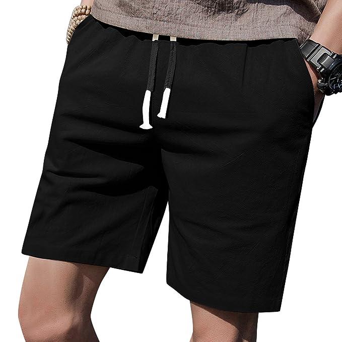 "b449cf1595 LTIFONE Mens 7"" Inseam Causal Beach Shorts with Elastic Waist  Drawstring Lightweight Slim Fit Summer"