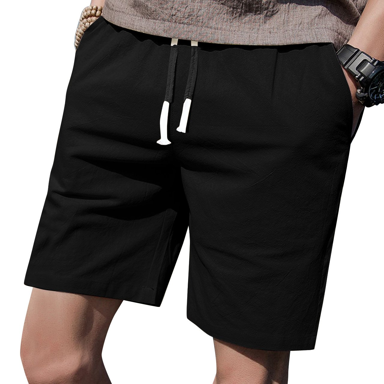 LTIFONE Mens 7'' Inseam Causal Beach Shorts Elastic Waist Drawstring Lightweight Slim Fit Summer Short Pants Pockets(Black,M)