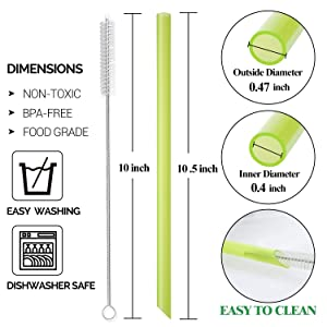 [Angled Tips] 8 Pcs Reusable Boba Straws & Smoothie Straws - Multi Colors Jumbo Wide Reusable Straws, BPA FREE Food-Grade Plastic Straws for Bubble Tea(Tapioca, Boba Pearls), Milkshakes with 2 Brushes (Color: Multi)