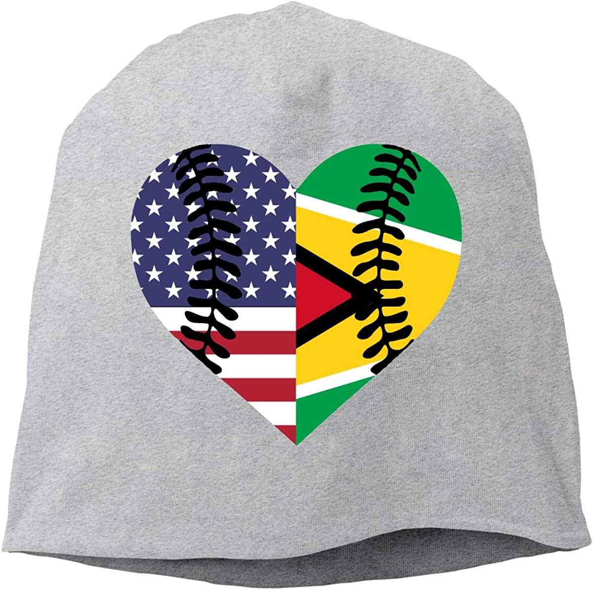 TLPM9LKMBM Guyana USA Flag Half Baseball Beanie Skull Cap for Women and Men Winter Warm Daily Hat