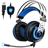 SADES A7 Gaming Headset 7.1 Virtual Surround Sound USB Gaming con microfono Noise Cancelling Gaming cuffie intelligente luce LED per PC portatile Mac (bianco e blu)