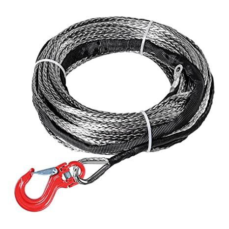 3//16inch*50 feet grey synthetic winch rope cable with thimble