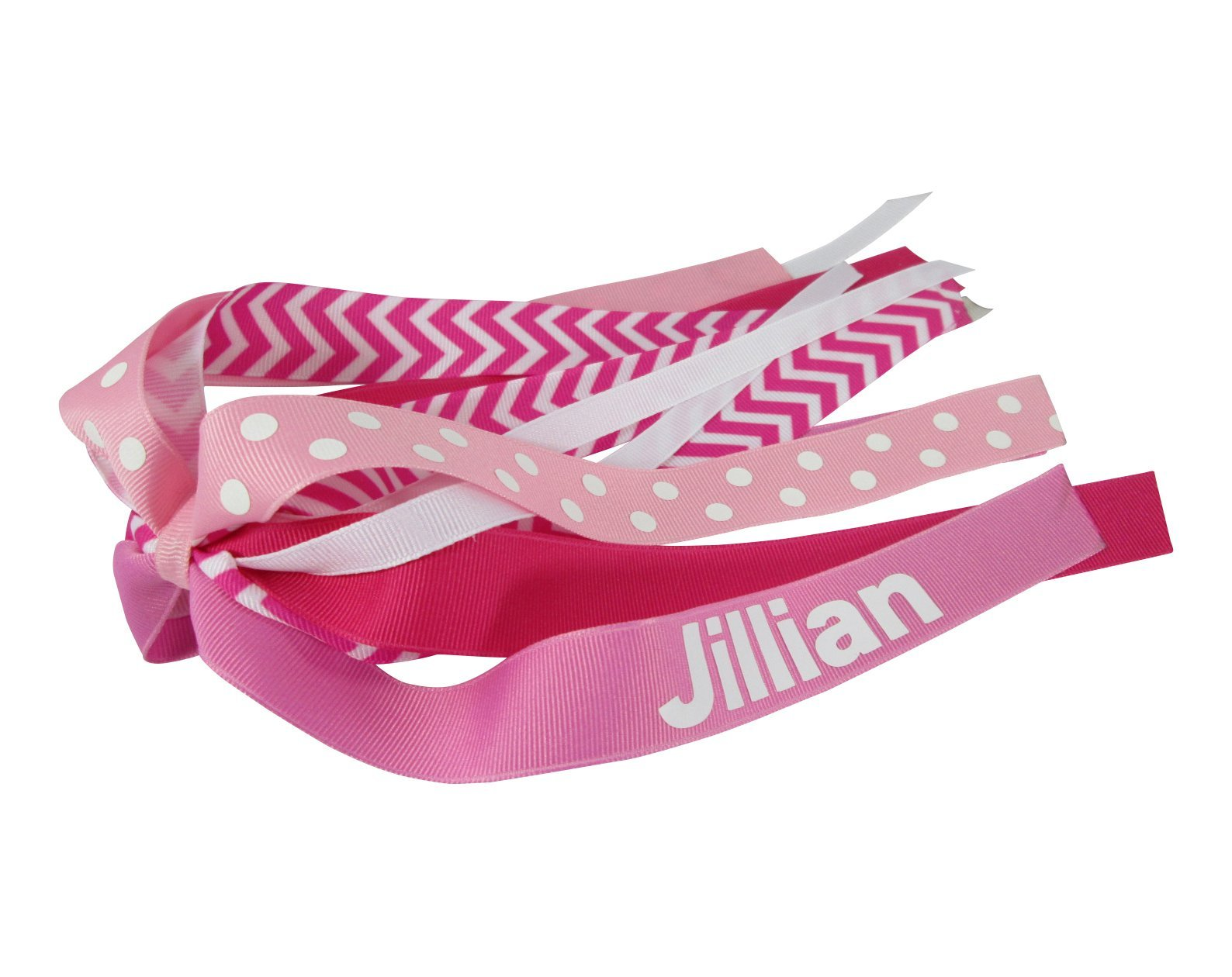 Pink Chevron or any color personalized ponytail holder bow