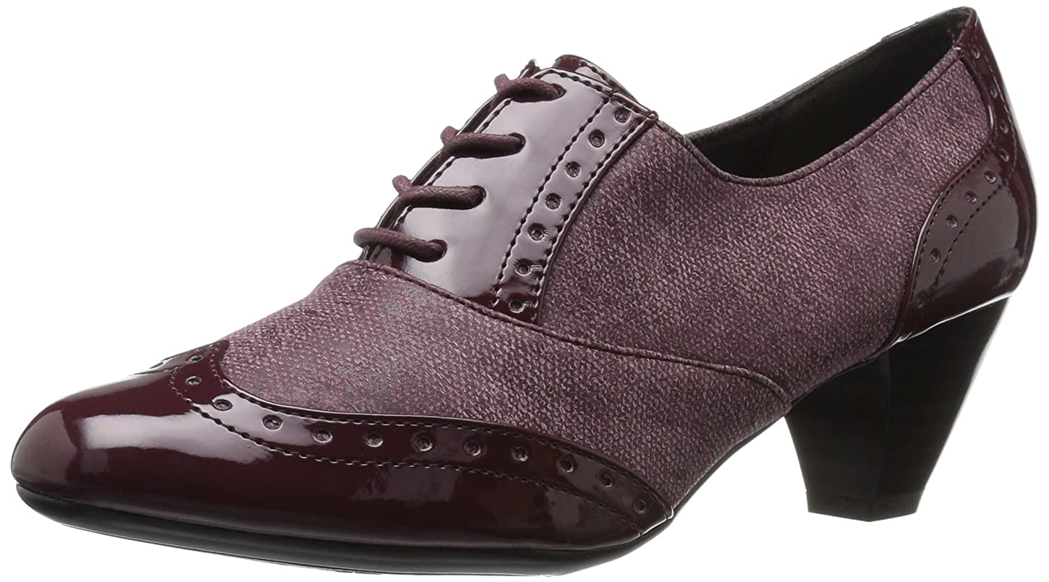 Soft Style by Hush Puppies Women's Gianna Dress Pump B01MUDSN0E 11 3E US|Bordeaux Faux Tweed/Patent