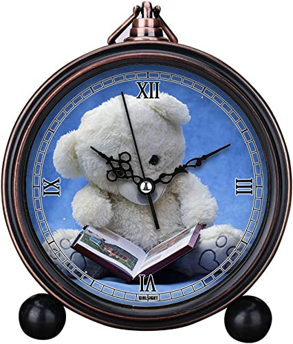 GIRLSIGHT Vintage Retro Living Room Decorative Non-Ticking, HD Glass Lens, Quartz, Analog Large Numerals Bedside Table Desk Alarm Clock Cute Cat Dog Series -537.White Teddy Bear with Opened Book
