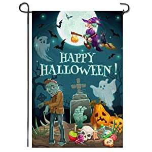 Shmbada Happy Halloween Burlap Garden Flag, Premium Fabric Double Sided, Welcome Seasonal Fall Outdoor Pumpkin Graves Ghosts Witch Decorative Banner for Yard Lawn Patio Farmhouse, 12.5 x 18.5 Inch