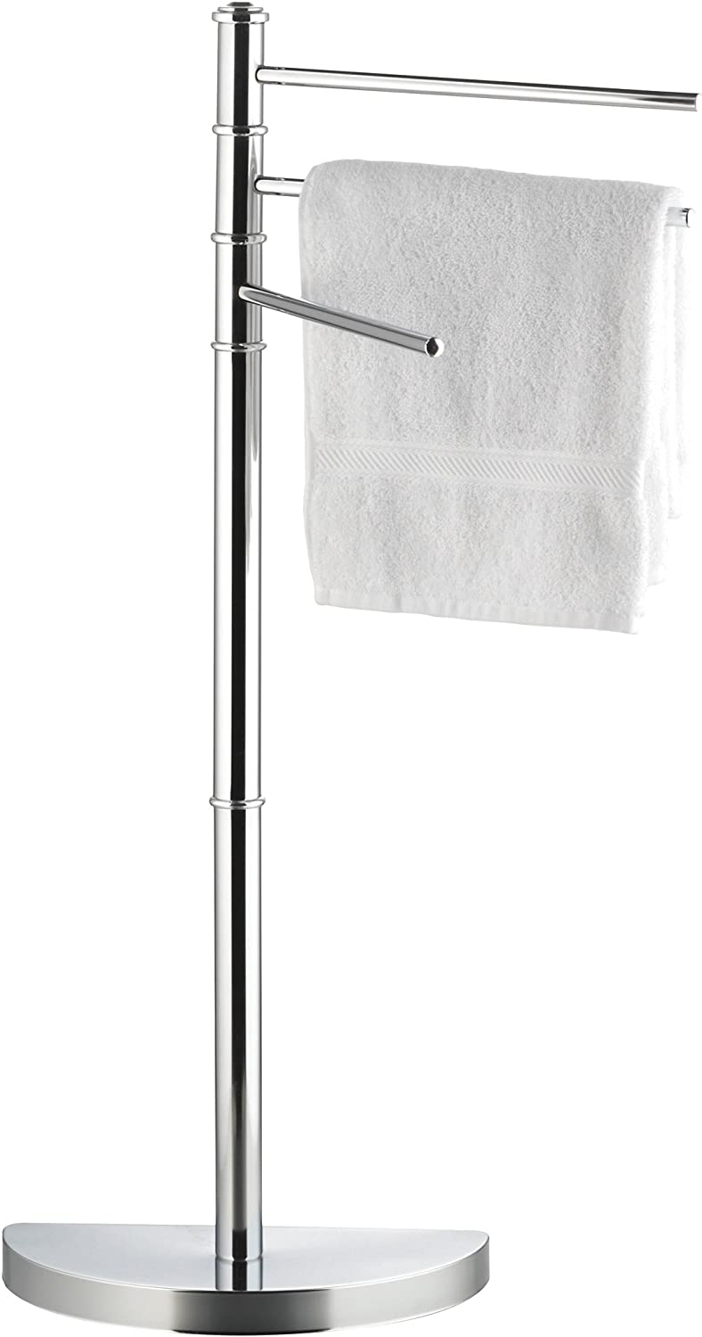 axentia Lianos Free-standing Swivel Towel Holder Rack, Chromed Metal Hand Bath Towel Stand, Bathroom Towel Hanger with 3 Adjustable Arms and Semicircular Base, approx. 32,5 x 86 x 17,5 cm High, Silver
