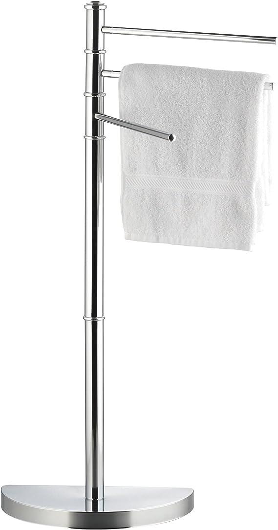 axentia Handtuchständer Lianos mit 3 Armen freistehender Kleiderständer fürs Bad verchromter Handtuchhalter ohne Bohren ca 32 5 x 86 x 17 5 cm