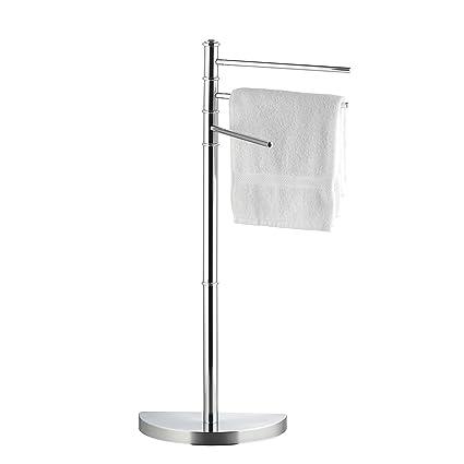 axentia – Toallero de pie con 3 brazos móviles ´´Lianos´´- altura 86 cm – metal cromado y plástico robusto – Estante estable, Colgador, Perchero ...