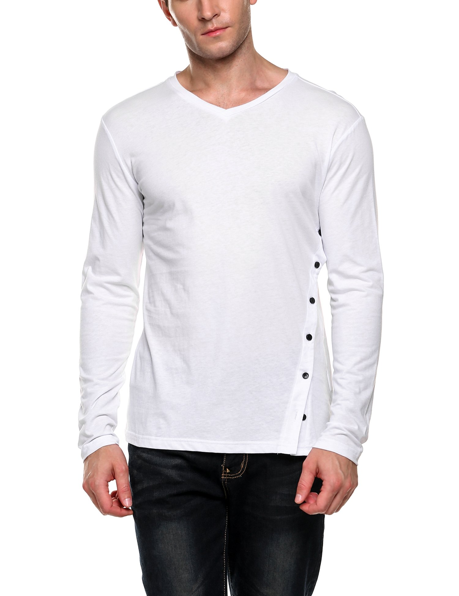 Coofandy Men's Long Sleeve Slim Fit Cotton Tee Shirts V Neck Tops