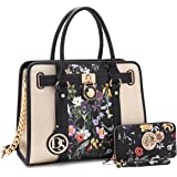 Dasein Women's Designer Satchel Handbag Two Toned Padlock Purse Top Handle Shoulder Bag w/ Chain Strap