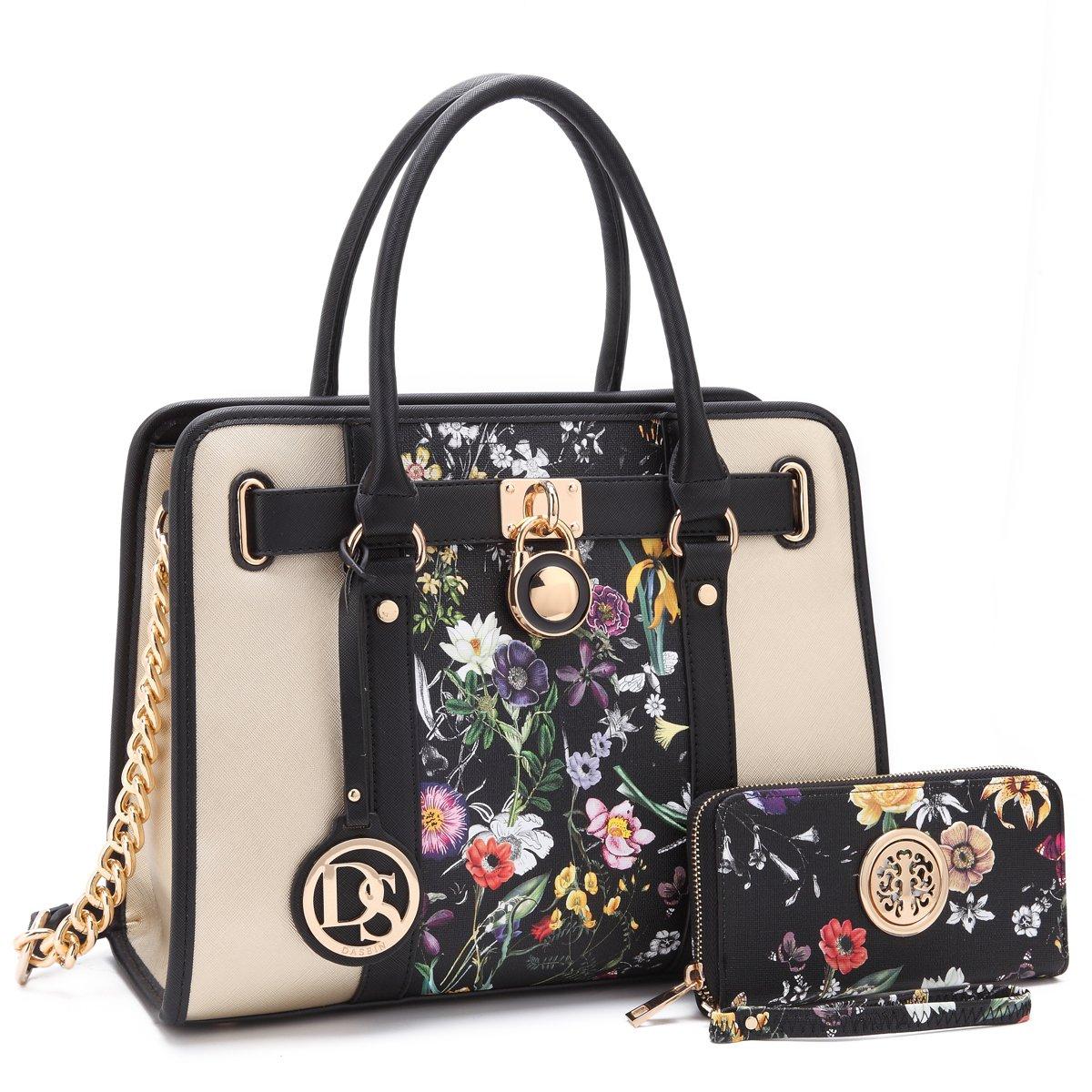 Dasein Women's Two Tone Designer Satchel Handbags Padlock Purses Shoulder Bags Work Bags w/Chain Strap