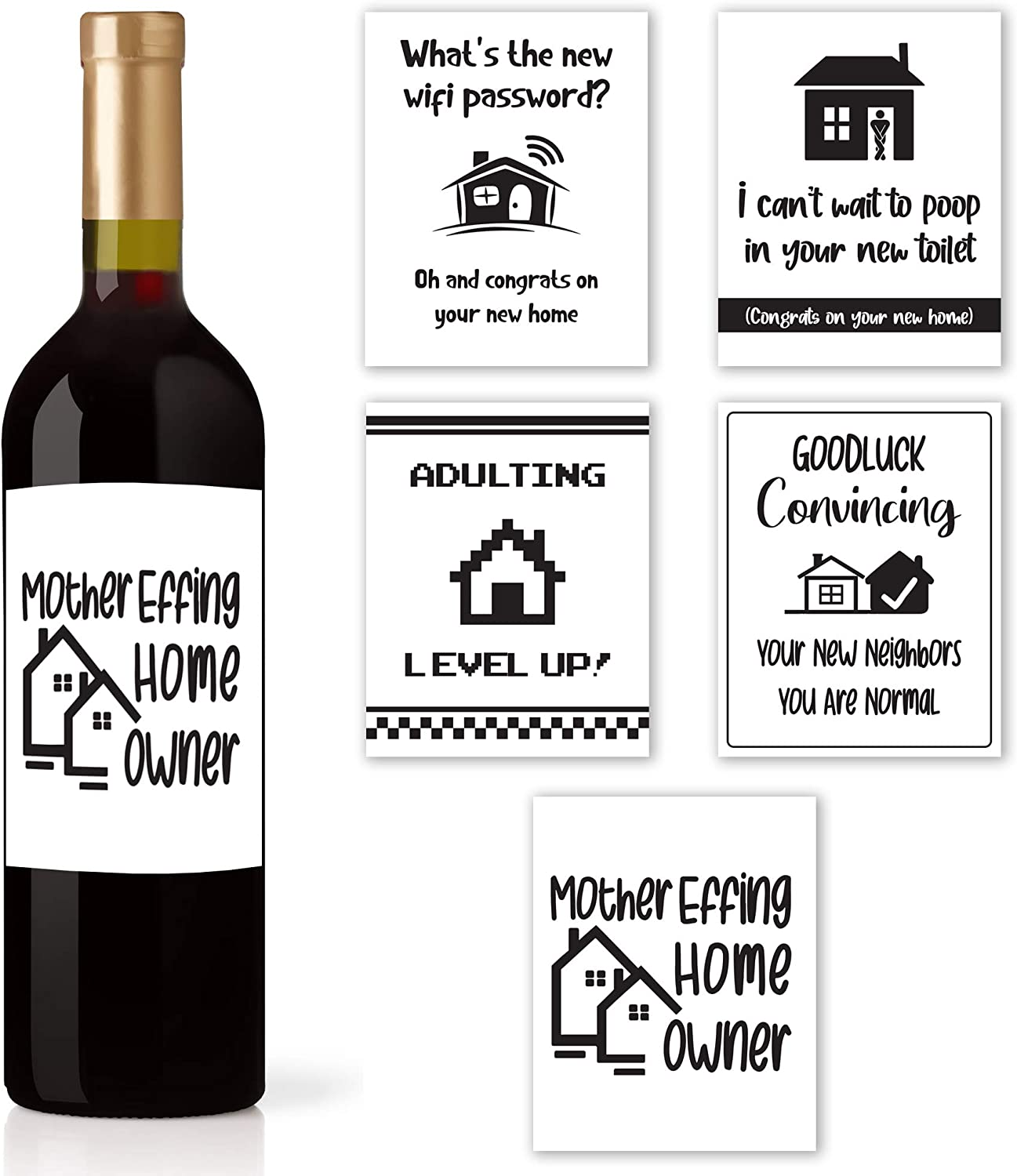Funny Housewarming Gifts - 5 Wine Labels for House Warming Presents for Couple, New Homeowners or Realtor Gifts - Funny First Time Home Owner Gift Ideas - Housewarming Gifts New Home