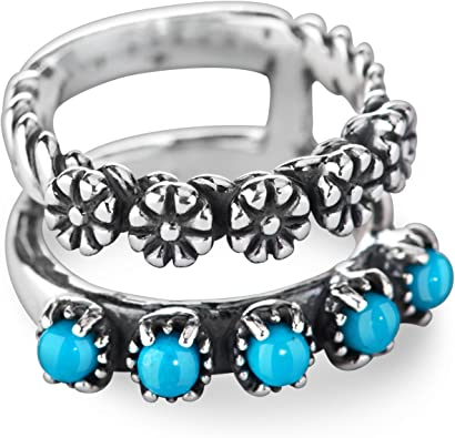 American West Sterling Silver and Gemstone Split Band Ring