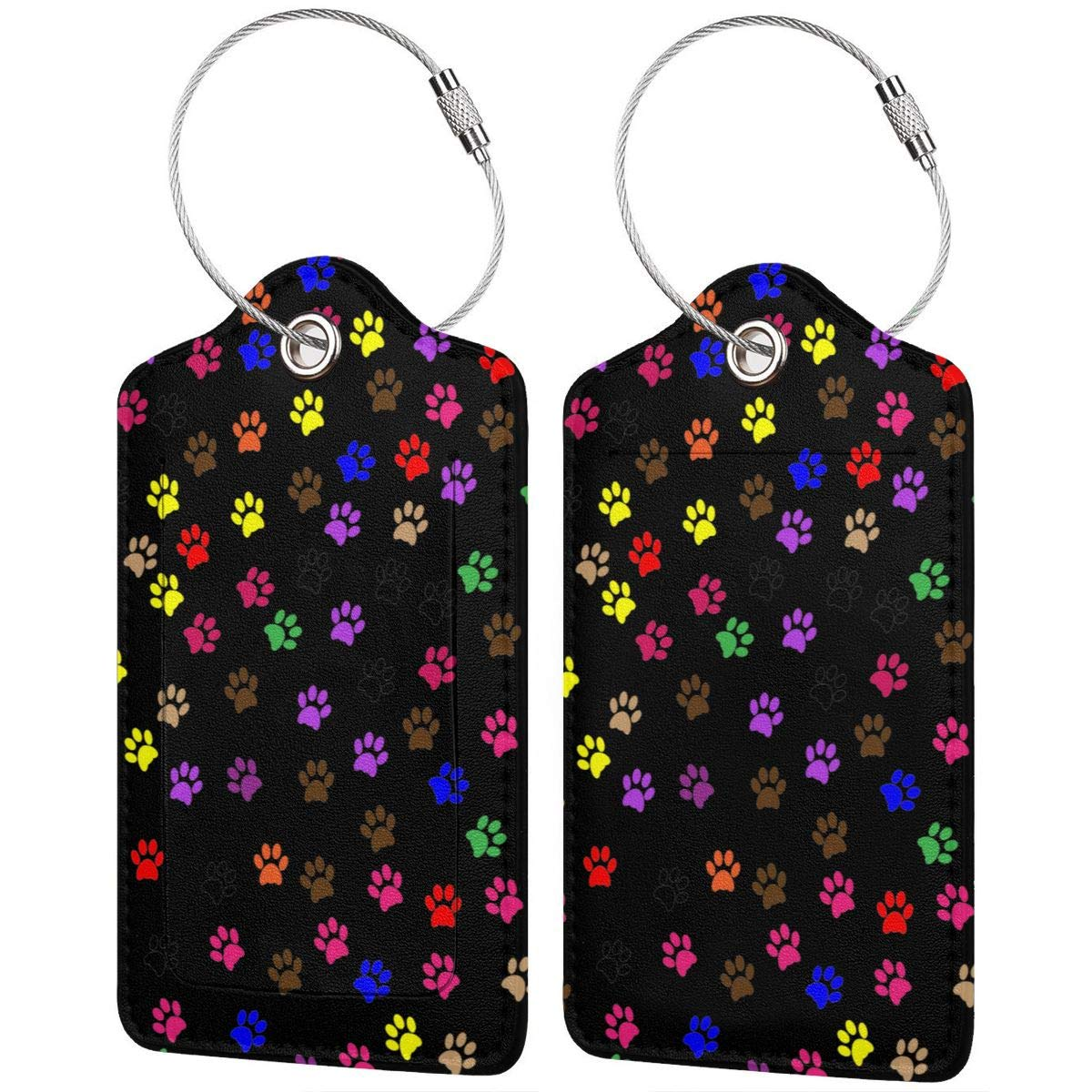 GoldK Dog Paw Prints Leather Luggage Tags Baggage Bag Instrument Tag Travel Labels Accessories with Privacy Cover