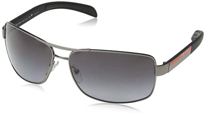 dff2ce6d202 Image Unavailable. Image not available for. Colour  Prada Men s Polarized  Linea Rossa PS54IS-7CQ5W1-65 Gunmetal Rectangle Sunglasses