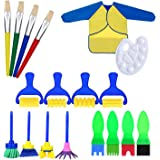 Sponge Painting Brush Set, EarthSave 18pcs Art Craft DIY Drawing Brush Set with Palette and Apron Painting Tools for Kids Early Learning